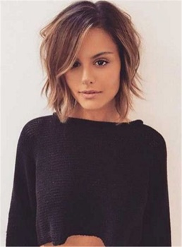 Layered Short Tilted Bob Hairstyle Straight Synthetic Hair Lace Front Cap Women Wigs 12 Inches