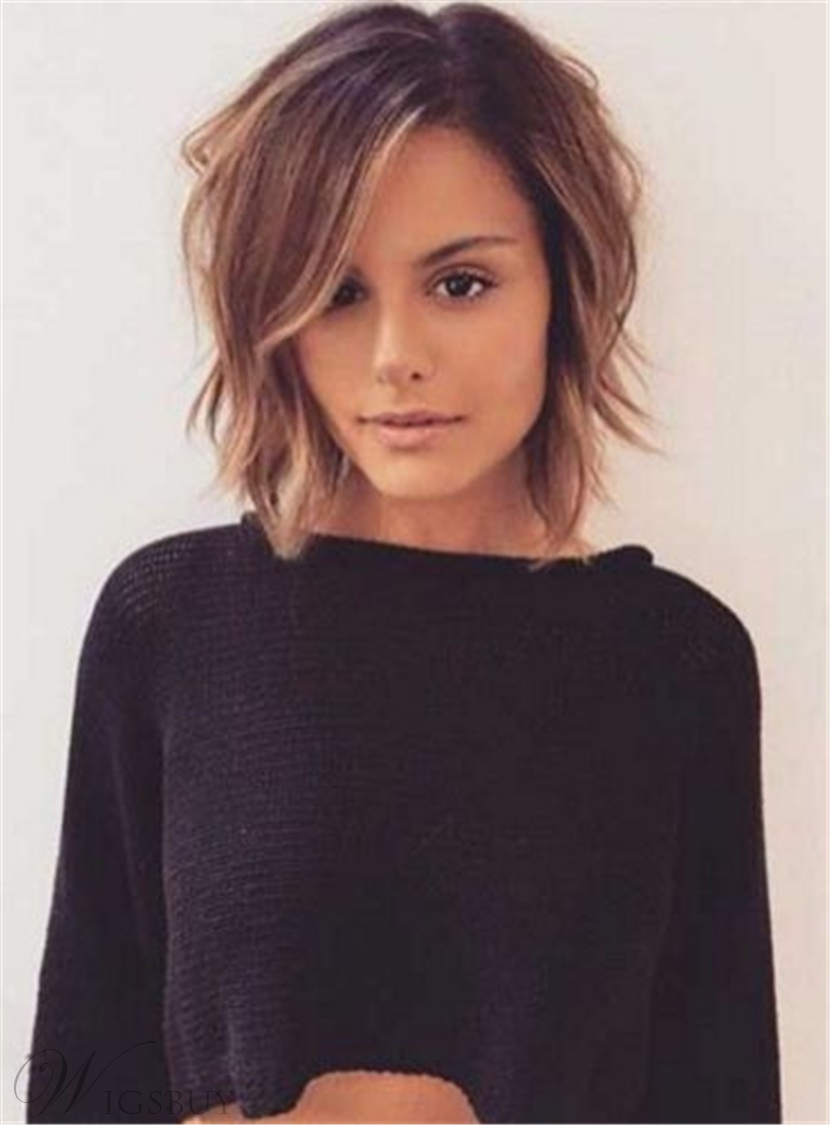 Layered Short Tilted Bob Hairstyle Straight Synthetic Hair