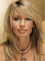 Medium Natural Straight Capless Synthetic Wig 14 Inches