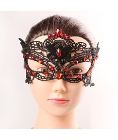 Halloween Vampire Bat Lace Ruby Stone Inlaid Masquerade Mask
