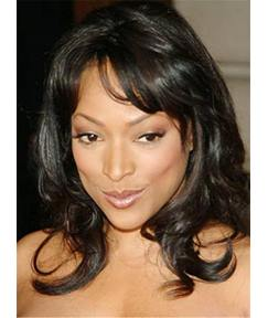 Medium Graceful Wavy Synthetic Hair Capless Women African American Wig 14 Inches