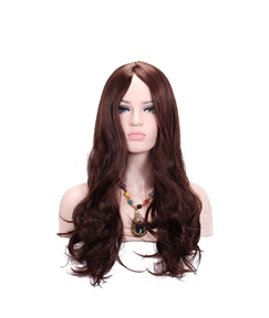 Long Wavy Synthetic Hair With Bangs Capless Women Wig 26 Inches