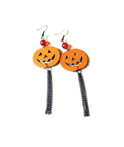 Halloween Series Smile Pumpkin Long Tassel Earrings
