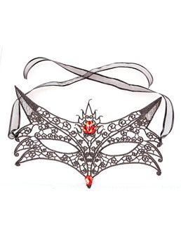Halloween Masquerade Mask Hollow Out Fox Lace Gemmed Mask