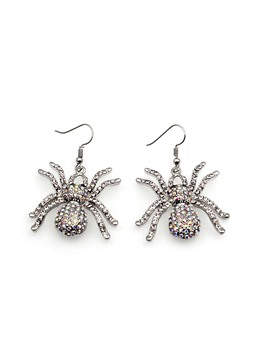 Halloween Gothic Diamante Spider Punk Earrings