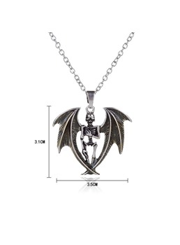 Halloween Series Luminous Skull Angel Wing Pendant Necklace