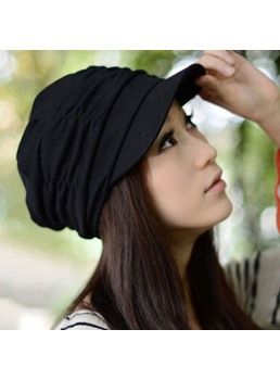 Fashion Pleated Short Brim Cotton Cap