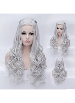 Daenerys Long Water Wave Silver-white Capless Synthetic Wig 32 Inches