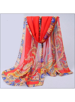 Indian Style Floral Print Chiffon Scarves