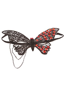 Halloween Butterfly Shaped Irregular Rhinestone Inlaid Masquerade Mask