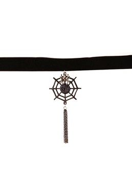 Gothic Halloween Classical Spider Web Long Tassel Choker Necklace