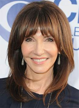 Mary Steenburgen Medium Straight Human Hair Capless Women Wigs 14 Inches