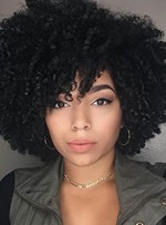 Kinky Curly Natural Black Loose Medium Layered Synthetic Hair African American For Black Women Capless 14 Inches