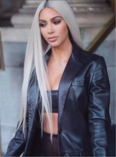 Kim Kardashian Hairstyle Long Straight Synthetic Hair Lace Front Cap Women Wigs 32 Inches