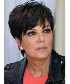 Kris Jenner Short Natural Straight Glamour Human Hair Capless Women Wigs 6 Inches