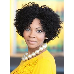Center Part Kinky Curly Natural Black Synthetic Hair Medium African American Wigs For Black Women Lace Front 12 Inches