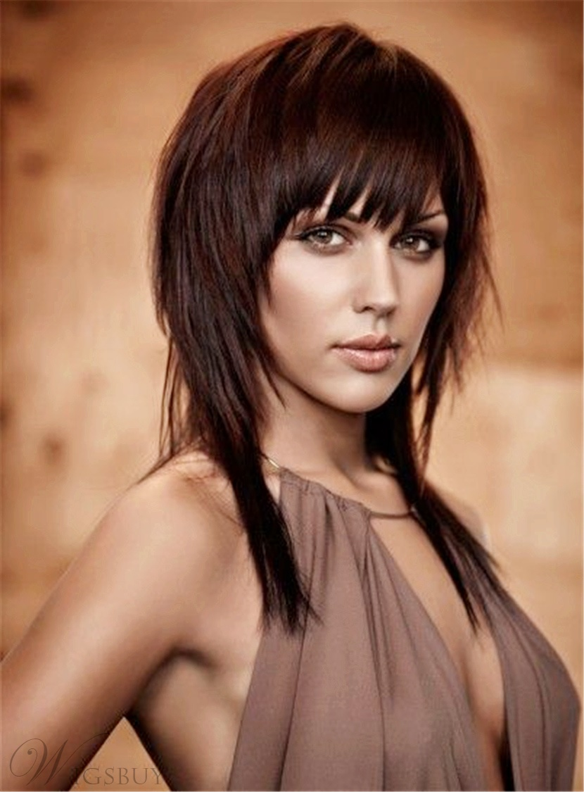 Layered Smooth Human Hair Mid-Length Straight Capless Women Wigs 16 Inches