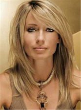Sexy Side Swept Straight Human Hair Women Capless Wigs 14 Inches