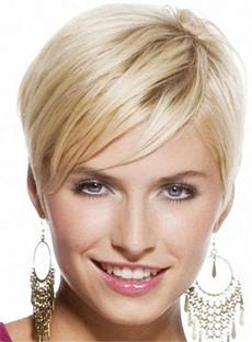 Short Comfortable Straight Silky Human Hair Full Lace Women Wigs 6 Inches