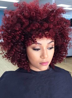 Red Kinky Curly Medium Synthetic Hair With Bangs Loose Messy Arican American Capless Wigs 14 Inches