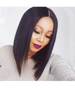Medium 150% Density Comfortable Straight African American Synthetic Hair Lace Front Wigs 14 Inches