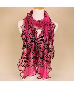 Nylon Flocking Hemming Floral Print Lurex Autumn Winter Scarves