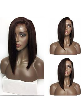Medium Chic Straight African American Synthetic Hair Lace Front Wigs 14 Inches