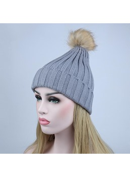 Winter Warmth Cone Pompon Woolen Yarn Knitted Hat