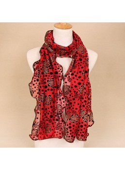 New Nylon Flocking Lurex Floral Polka Dots Scarves