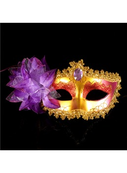 Halloween Party Side Flower Charming Gem Halloween Mask