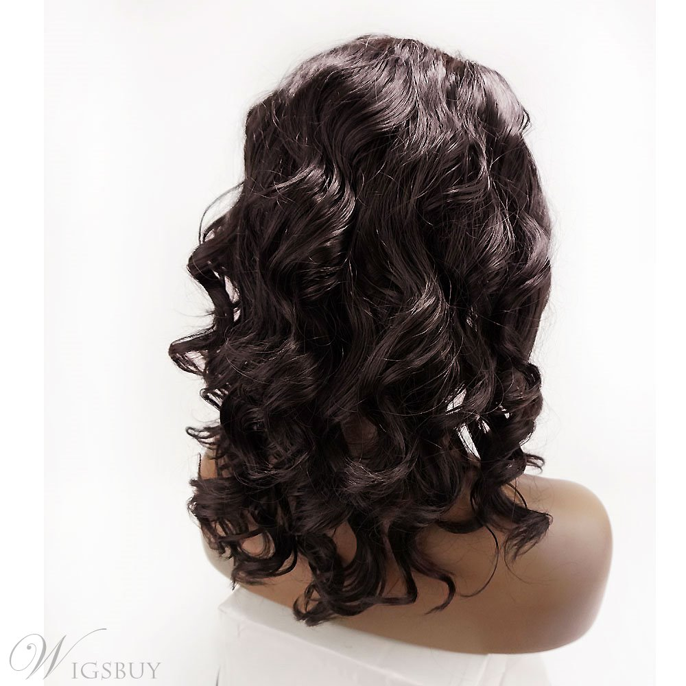 Deluxe Synthetic Hair Wavy Lace Front Cap African American Wigs 14 Inches