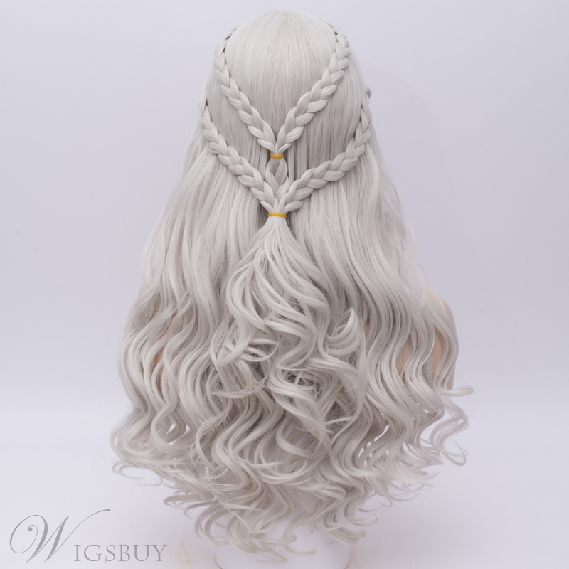 Daenerys Long Braid Silver Capless Synthetic Wig 28 Inches
