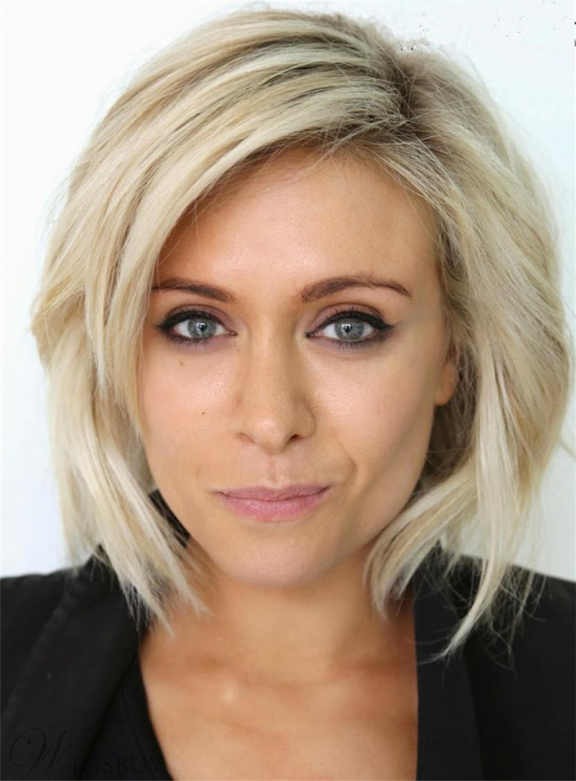 Short Natural Straight Textured Human Hair Lace Front Women Wigs 10 Inches
