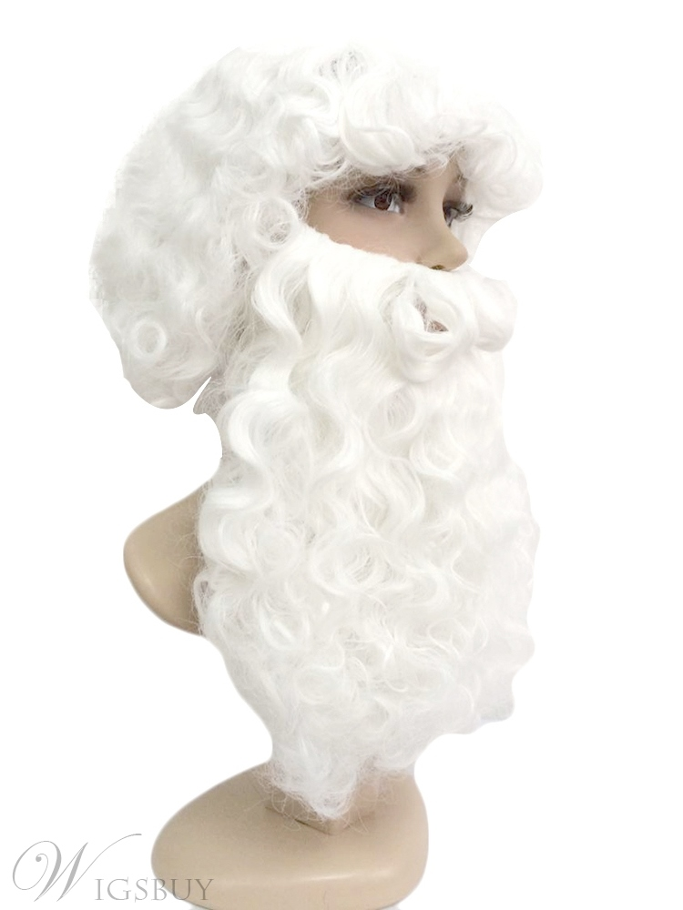 Santa White Synthetic Hair Curly Wigs With Beard Capless Wigs 12 Inches