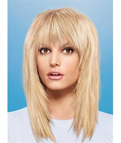 Layered Long Straight Synthetic Hair Capless Women Wigs14 Inches
