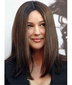 Medium Straight Attractive Synthetic Hair Lace Front Women Wigs 14 Inches