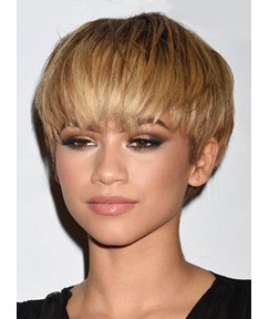Zendaya Boy Short Synthetic Hair With Straight Bangs African American Women Wigs Capless 6 Inches