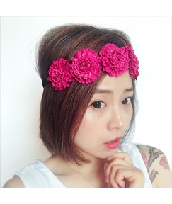 Simulation Pompon Floral Wreath Hair Band