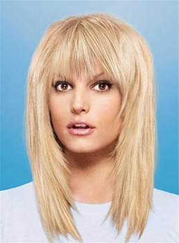 Layered Blonde Long Straight Synthetic Hair Capless Women 14 Inches