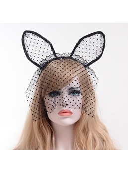 Cat Ears Polka Dots Lace veil Halloween Party Hair Accessories