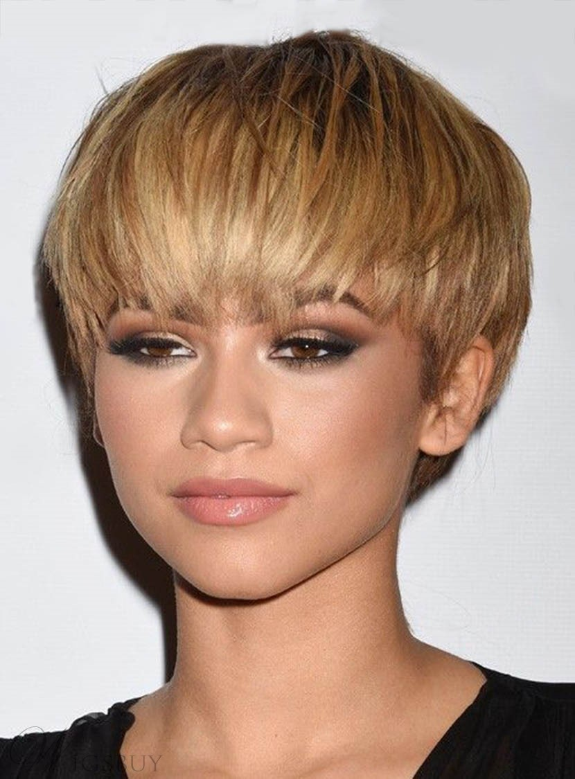 Zendaya Boy Short Synthetic Hair With Straight Bangs African