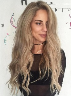 Wavy Long Bleached Synthetic Hair Lace Front Cap For America Women 28 Inches