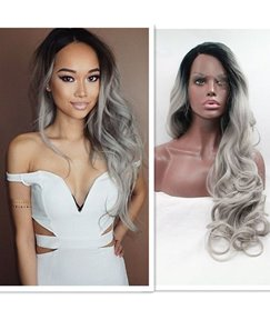 Black/Grey Big Curly Hair Lace Front Synthetic Women Wig