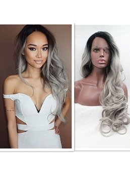 Salt and Pepper Black/Grey Big Curly Hair Lace Front Synthetic Women Wigs