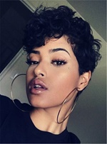 Natural Dynamic Boy Cut Pixie Curly Short Synthetic Hair Capless African American Women Wigs