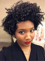 Short Curly Synthetic Hair Lace Front Cap African American Women Wigs12 Inches