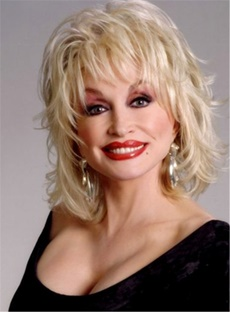 Dolly Parton Blond Mid-Length Synthetic Capless Wigs For Older Women 14 Inches