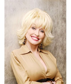 Dolly Parton Charming Blond Mid-length Straight Hair Synthetic Capless Wigs 14 Inches