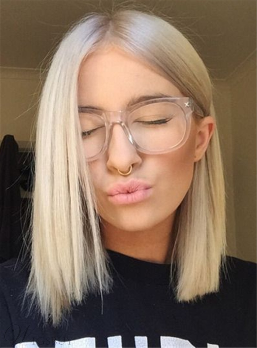 Short Straight Short Synthetic Hair Lace Front Cap Women Wigs 10 Inches