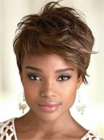 Cool Short Straight Capless Human Hair for African American Women Wigs